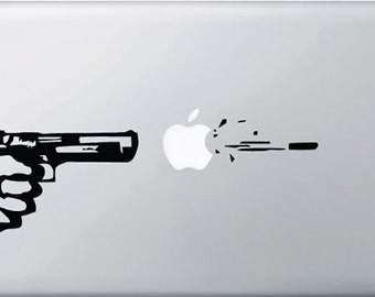 Gun Shooting Macbook Decal, Gun Shot Bullet Macbook Sticker, Macbook Air Pro Decals, Mac Decals, Laptop Decals, Apple Decal,
