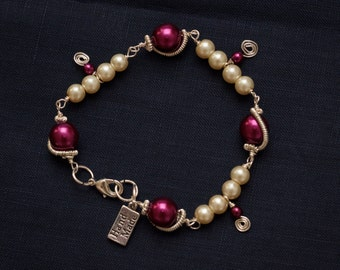 Pink and Ivory Pearlescent Bracelet
