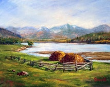 Haystacks by the river. Original pastel drawing/painting by Yana Golikova Landscape painting/drawing Framed art Wall decor