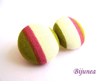 Pink Stripes earrings - Pink stripe stud earrings - Green stripes posts - Stripes studs - Pink stripes post earrings sf333