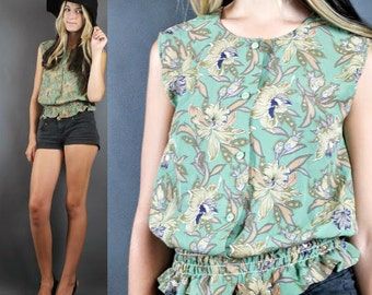 Vintage 80's Cropped Sheer Green Floral Print Elastic Waist Top Blouse XS-S