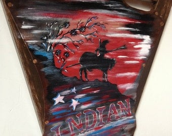 """picture painting on leather - original -  """"Indian turmoil"""""""