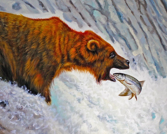 Grizzly Bear / Wildlife Original Oil Painting 18x22 Samantha Childs ...