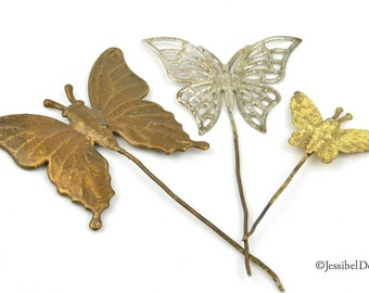 Vintage Metal Butterfly Trio, Embellishment for Altered Art, Scrapbooks, Home Decor, Assemblages, Craft Projects - Salvaged Brass