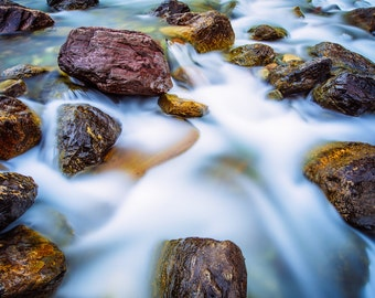 Water Over Rocks, Fine Art Photography, Rushing Water, Nature Photography, Waterscape, Flowing Water, Home Decor, Tranquility, Outdoors