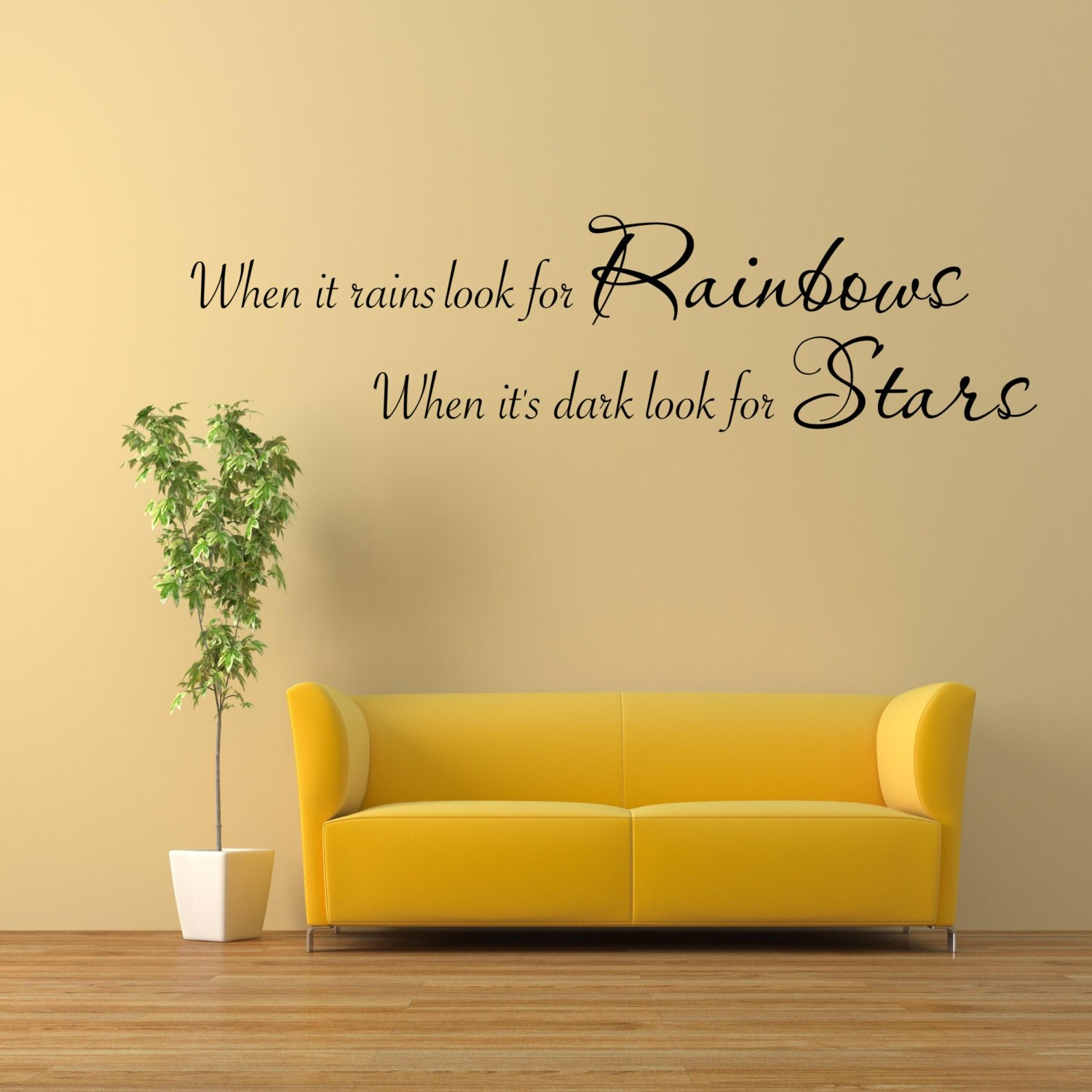 Rainbows Stars Wall Art Sticker Room Lounge Quote Decal Mural ...