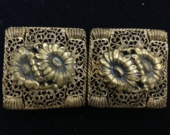 Gold Filigree and Flower Double Separating Vintage Buckle