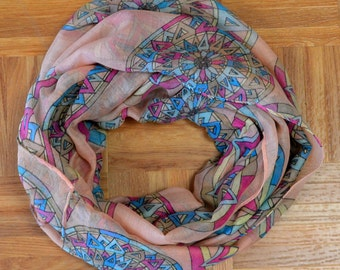 Pink Compass Light Weight X-large Infinity Scarf Loop Cowl