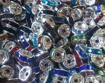 6mm Mixed Silver Rhinestone Beads