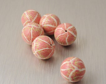 Polymer Clay Round Beads - Rose, Cream and Chartreuse Stripes