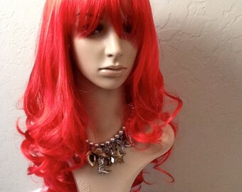 Long layered synthetic wig with bangs, Red wig, Long Halloween Wig, Red Costume Wig, Halloween Costumes, Red wavy synthetic wig.