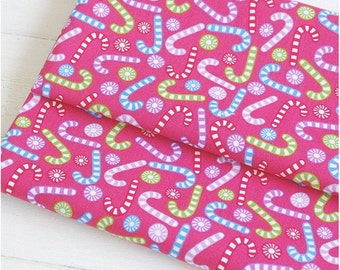 Holiday cotton fabric hot pink fabric with candy cane cotton fabric Christmas fabric