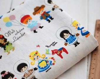 Different countries children design cotton linen fabric home decor fabric tablecloth fabric bag fabric curtain fabric 1/2 yard