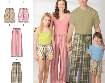 Simplicity Pattern 1520 Size (XS-L/XS-XL) Child's, Teens' and Adults' Pants and Shorts