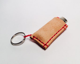 Leather Mini Bic lighter keychain (lighter not included)