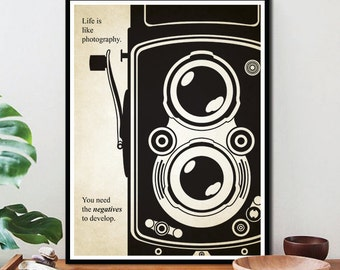 Motivational Quote Life is Like Photography/ Typography Print/ Typography Poster /Inspirational Quote /gallery wall/ black and white, No. 8