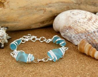 Ice Blue Sea Glass Bracelet