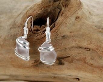 Violet Sea Glass Earring