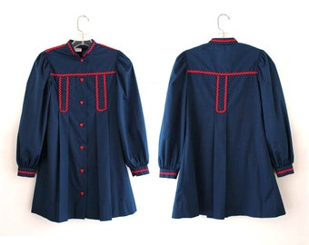 SALE girls jacket - vintage 1960s / 1970s navy blue childs dress jacket with red details & heart buttons by Cinderella