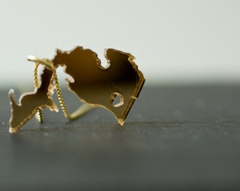 i heart Michigan - mirrored gold acrylic - Gold Michigan Necklace Michigan Jewelry Gold MI necklace Michigan Gold Pendant