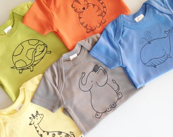 Animals! Five hand screen printed animal rompers - 3-6m - modern shower gift  - gender neutral baby gift set (optional gift box)
