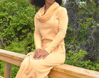 Fleece Cowl Neck Organic Maxi Dress. Sustainable organic hemp custom made clothing by Grateful Threads Asheville. Handmade. Conscious.