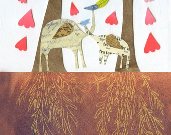"""Limited edition print from """"i carry your heart"""" children's book~illustrated e.e. cummings poem~large 13x19 inch print~ elephants trees roots"""