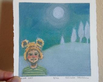 Woodland Linocut Print Bear Hat Boy Snow Moon Original Art Belinda DelPesco