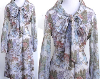 Vintage Floral Dress - Gorgeous Flower Print in Lavender, Blue, Green, Coral - Bow/Tie at Collar - Fit & Flare - Sheer Sleeves - Tie Belt
