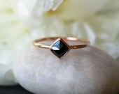 Square Rose Cut Black Diamond Ring, 14k Yellow Gold Band, Unique Engagement Ring, Modern Bride, Minimalist Design, Handmade Jewelry
