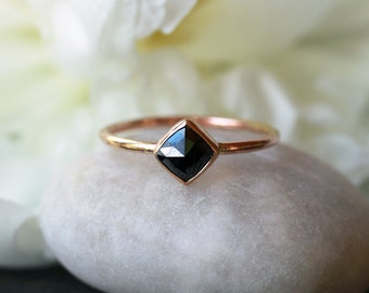 Square Rose Cut Black Diamond Ring, 14k Yellow Gold Band, Unique Engagement Ring, Modern Bride, Minimalist Design, Handmade Jewelry