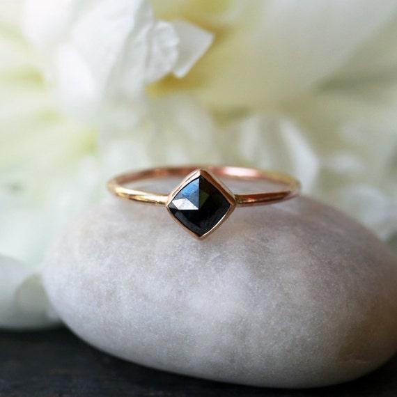 Square Rose Cut Black Diamond Ring 14k Yellow Gold Band