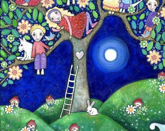 Childrens Wall Art Summer Tree folk art painting kids wall decor 7 children brothers and sisters art nursery art whimsical kids room picture