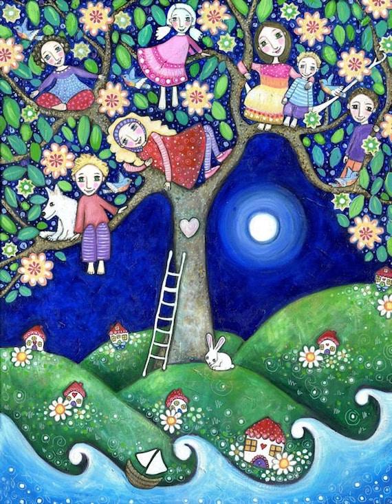 childrens wall art summer tree folk art painting kids wall. Black Bedroom Furniture Sets. Home Design Ideas
