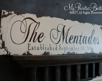 Vintage FAMILY NAME SIGN, Shabby Chic Wedding Sign, Vintage Wedding Sign, Romantic Weddings, Established Sign
