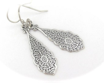 Art Nouveau Earrings, Antiqued Silver Plated Earrings, Wedding Jewelry, Bridesmaid Earrings, Bridal, Hawaii Wedding, Bohemian Earrings
