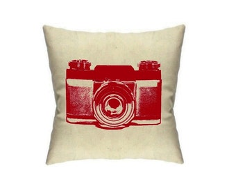 Camera Pillows Photographer Gift Retro Home Decor Vintage Cameras Cushions Linen Throw Pillow Accent Mid Century home