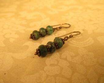 Oxidized Blue Green Kyanite Kitser Earrings