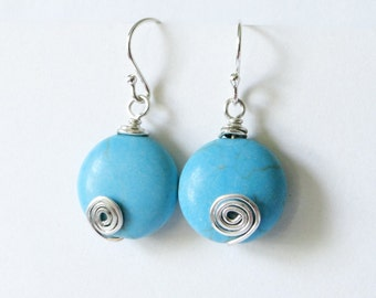 Turquoise earrings. Sterling silver. Blue howlite. Wire wrapped earrings. spiral earrings.