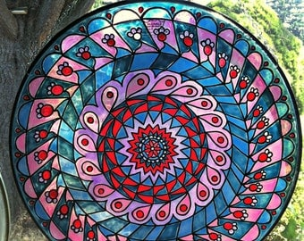 Mandala Suncatcher in Purple Blue and Red - Recycled Drum Head - Hand Painted Bohemian Decor, Faux Stained Glass Window - 18 inch diameter