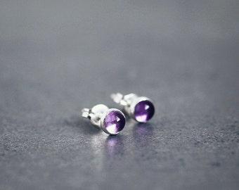 Royal purple AMETHYST 4mm stud earrings sterling silver posts