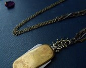 blood never leaves the blade - vintage antique fob knife neckalce - vertebrae chain layers of chain necklace