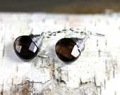 Sterling Silver Smokey Smoky Quartz Earrings Wire Wrapped Jewelry Brown Faceted Briolette Teardrop Dangle Style Everyday Handmade Whisky RTS