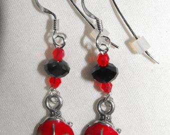 Enamelled Lady Bug Earrings, Swarovski Crystals & Silver Ear Wires