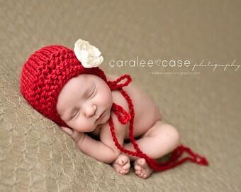 Ruby Heirloom Bonnet - newborn photography prop