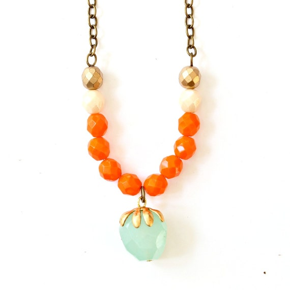 orange strand gemstone necklace by nestprettythingsshop on