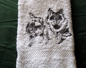 Wolves Scene On White Bath Hand Towel