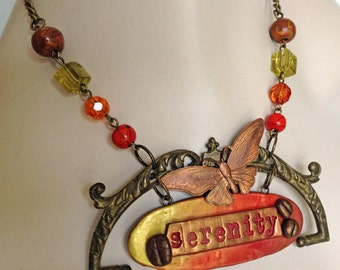 Vintage Butterfly Serenity Statement Necklace - OOAK Necklace - Polymer Clay - JaelDesigns