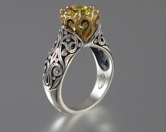 Engagement Ring The ENCHANTED PRINCESS 14k gold with Golden Beryl