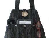 shoulder bag purse, black tote bag, fabric purse, everyday bag, black and grey handbag, shoulder bag, multi pocket bag